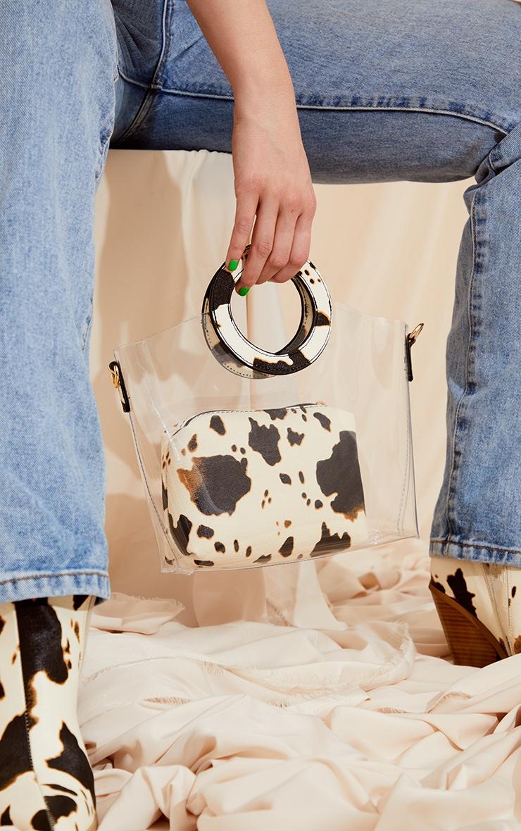 Black Cow Print Clear Pu Grab Bag 1