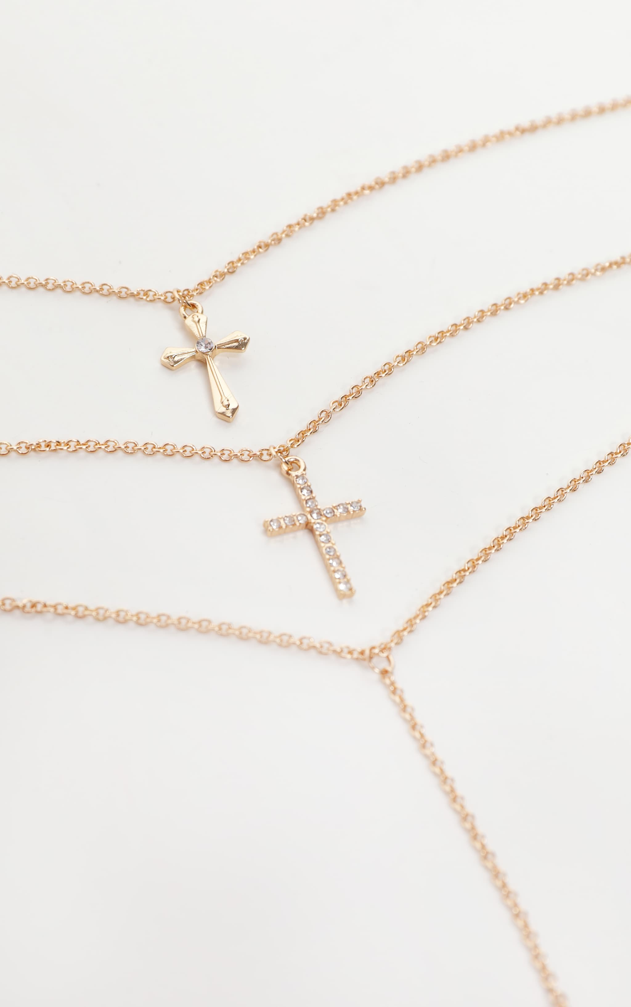 Gold Layering Long Cross Charm Necklace 2