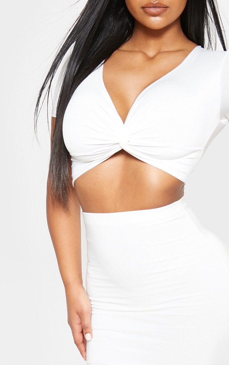 Cream Slinky Twist Front Crop Top 5