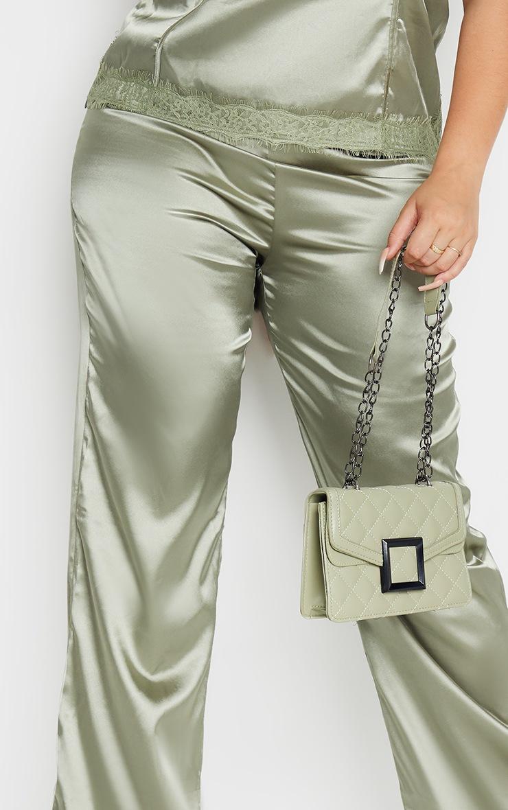 Plus Olive Satin Wide Leg Trousers 4