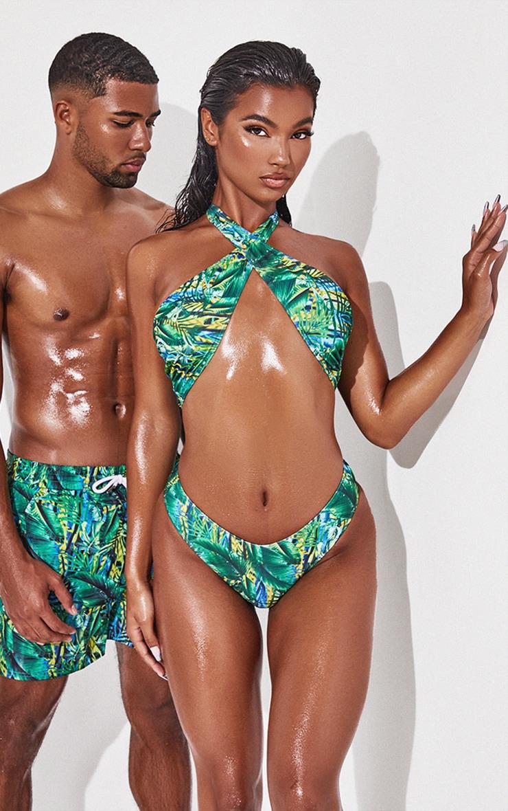 Green Tropical Cross Front Bikini Top 1
