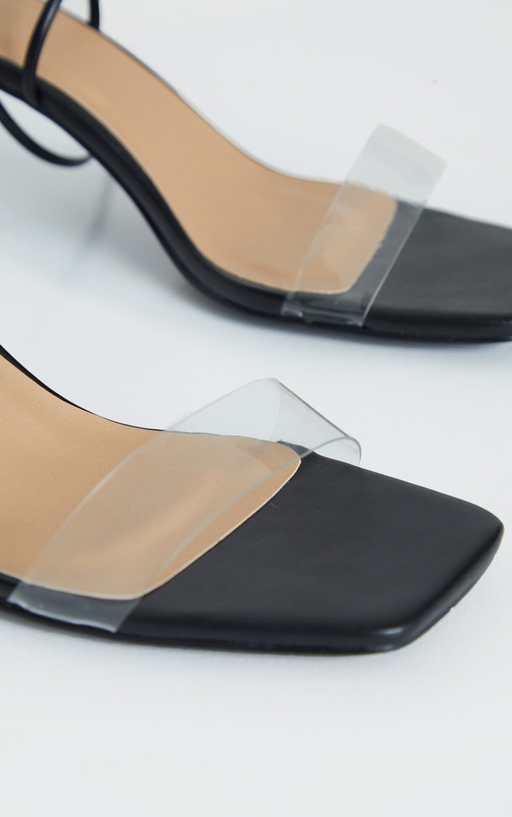 Black Low Heel Clear Strap Ankle Tie Sandal 4