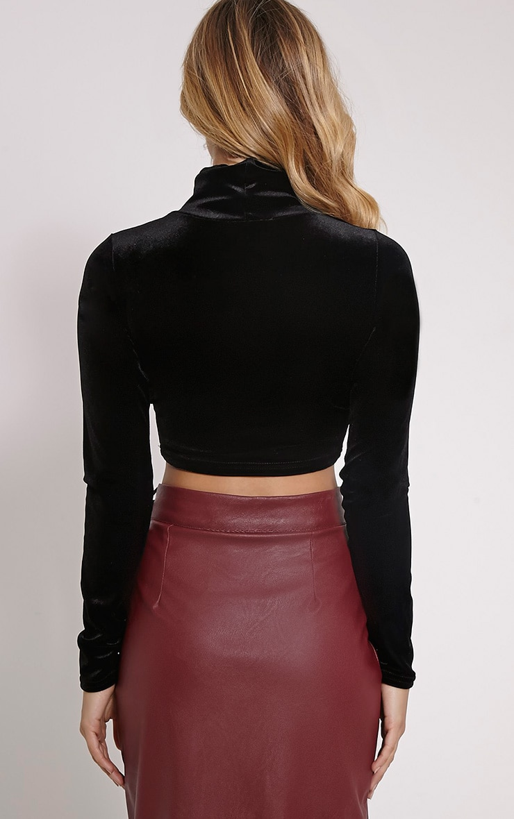 Simona Black Velvet High Neck Long Sleeved Crop Top 2