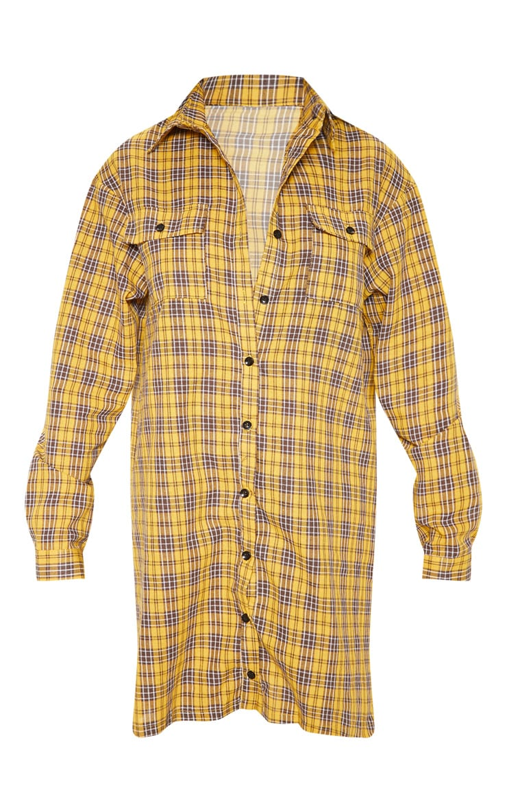 Yellow Checked Oversized Shirt Dress 3