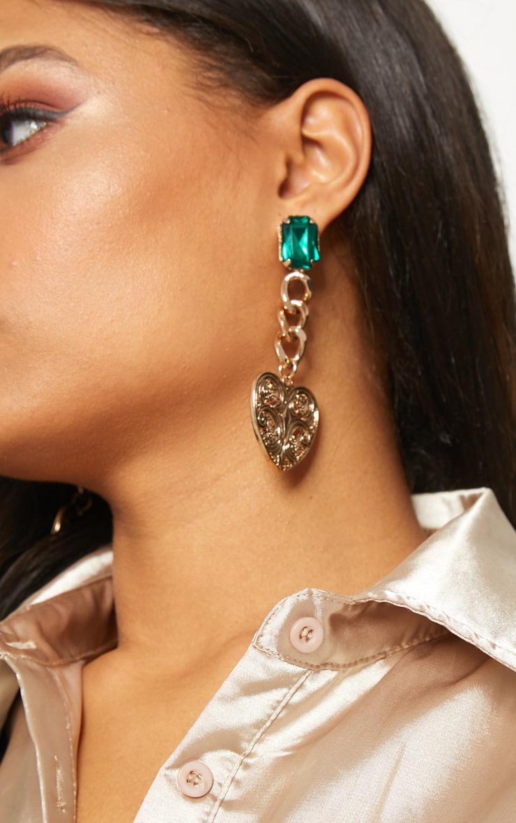 Boucles d oreilles pendantes à pierre fantaisie émeraude 2