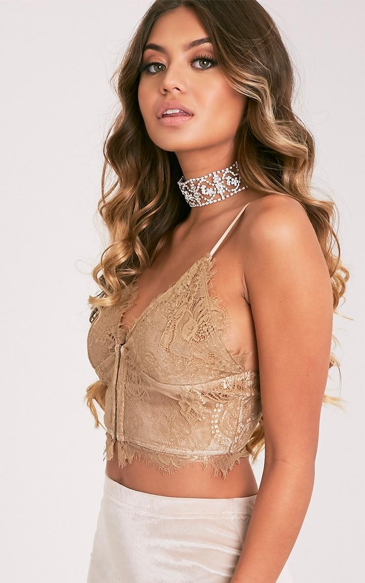 Hannah brassière corset en dentelle dorée 4
