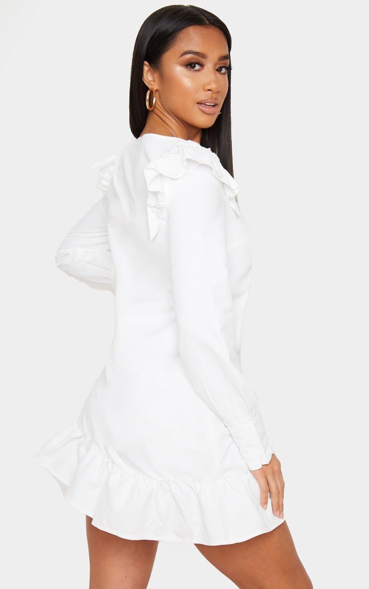 Petite - Mini-robe blanche à ourlet volanté et manches longues 2