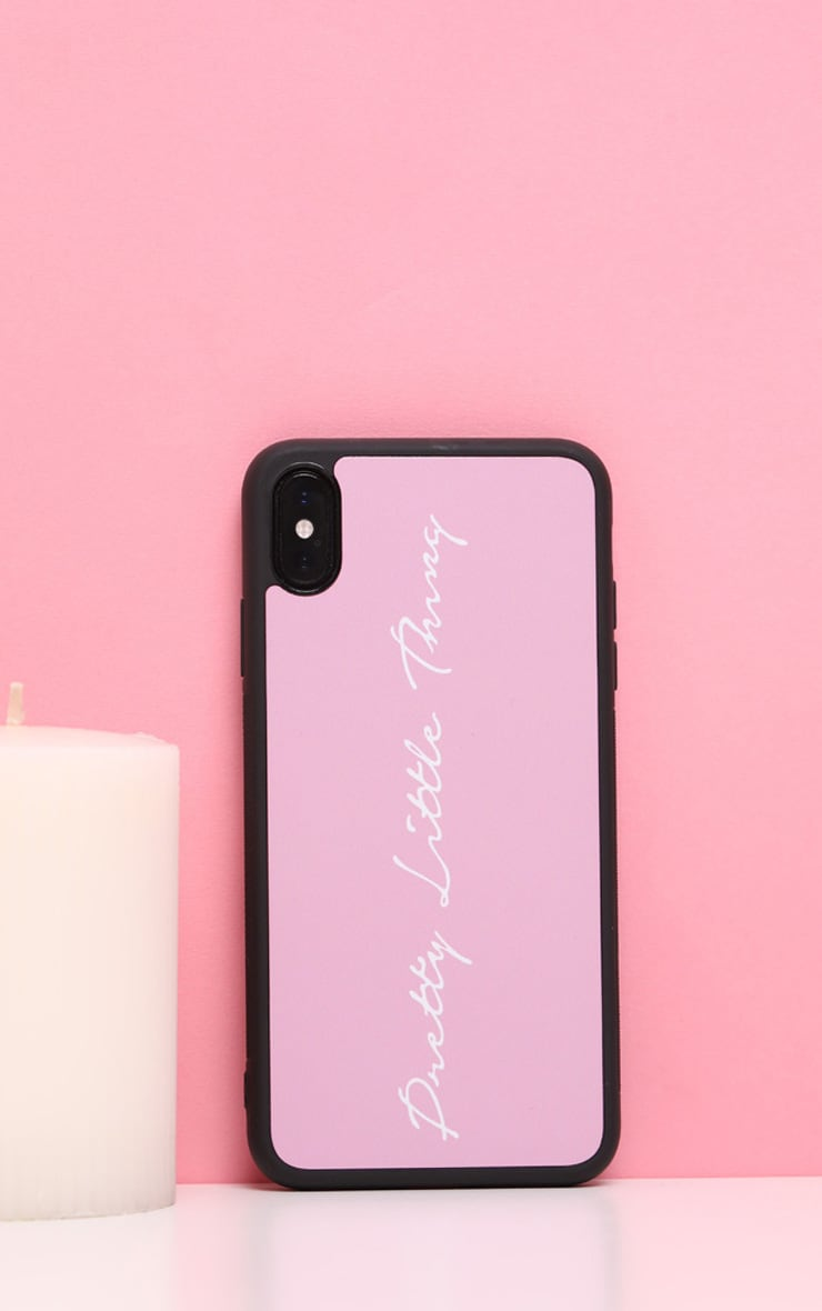 PRETTYLITTLETHING  Baby Pink Scribble Logo 10/X/XS iPhone Case  1