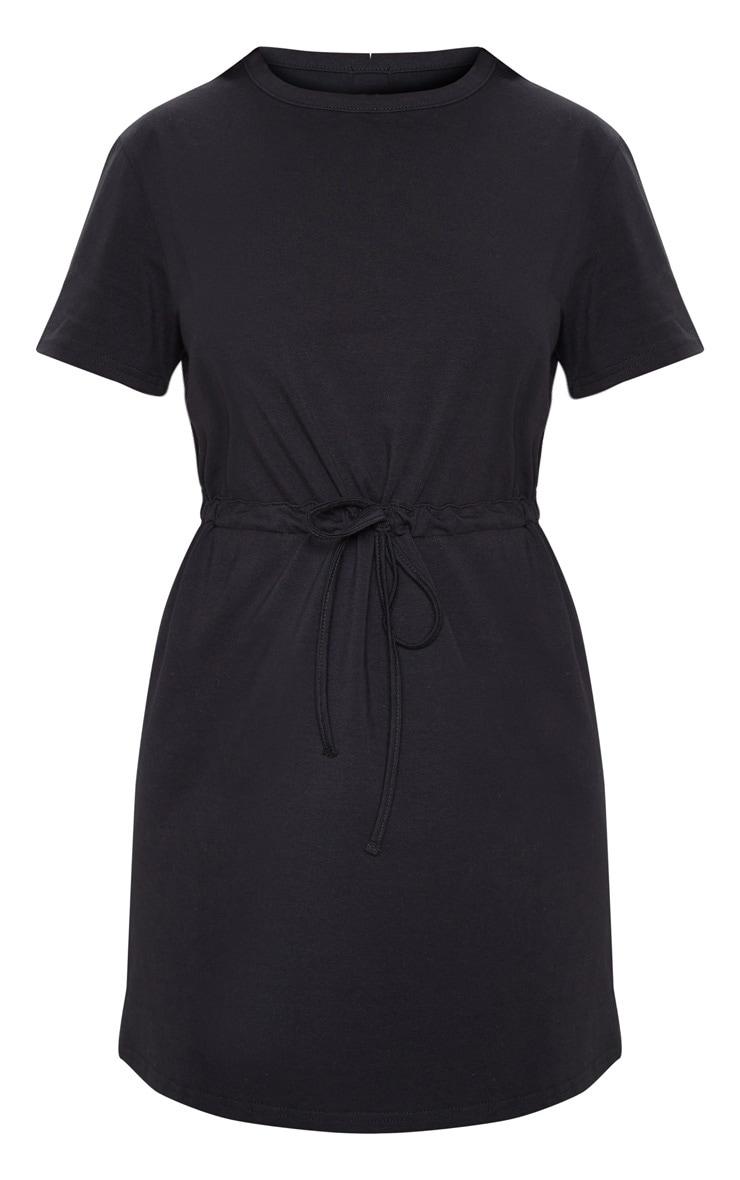 Black Drawstring Tie Waist T Shirt Dress 3