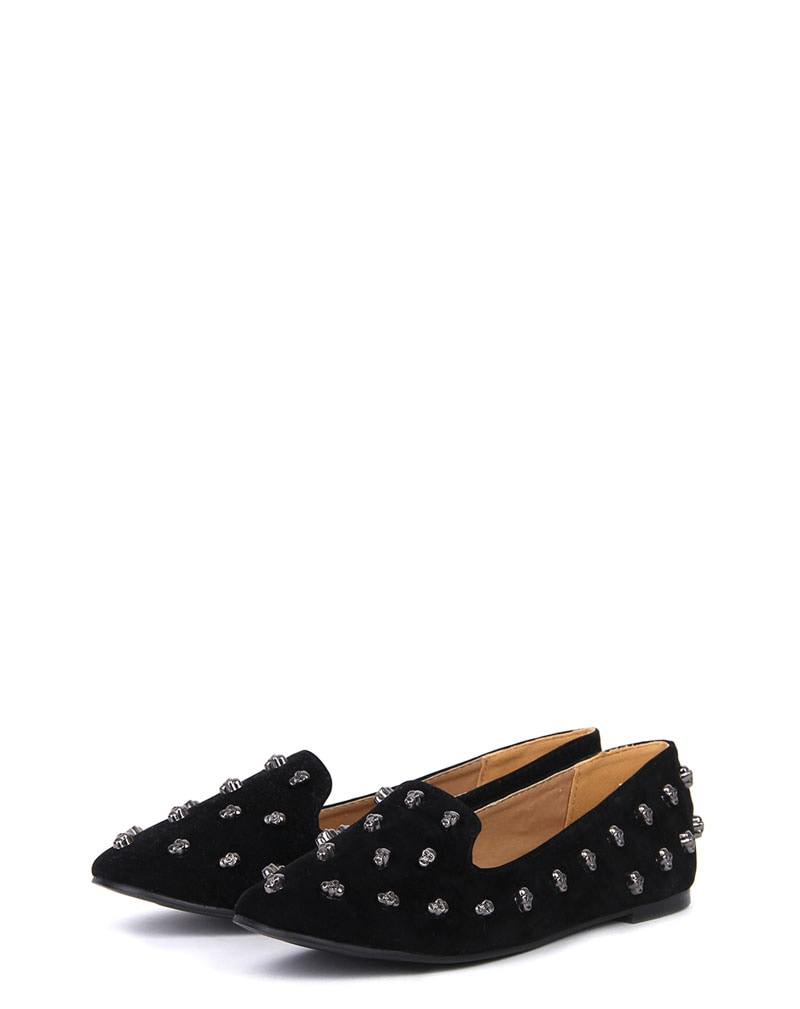 Carla Black Suede Studded Slipper Pumps 2