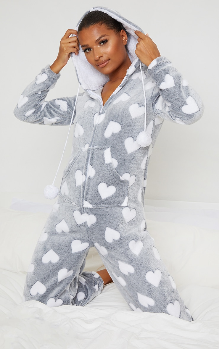 Grey Heart Printed Fleece Hooded Onesie 1