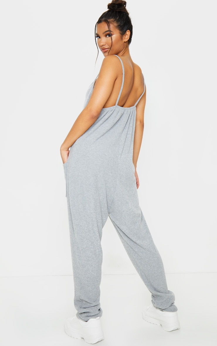 Grey Brushed Rib Strappy Pocket Jumpsuit 2