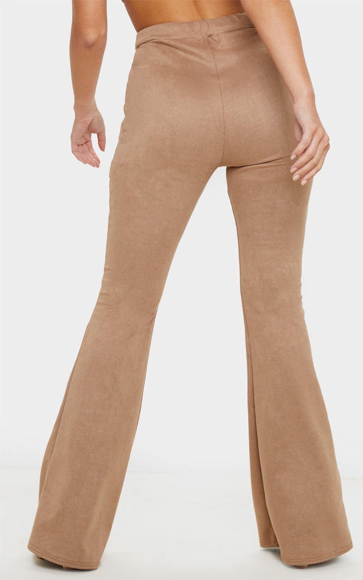 Stone Faux Suede Flare Trouser 4