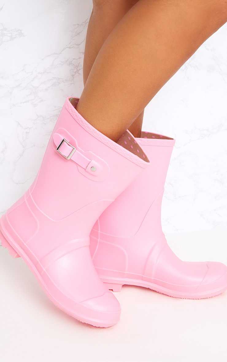 Baby Pink Short Wellies 1