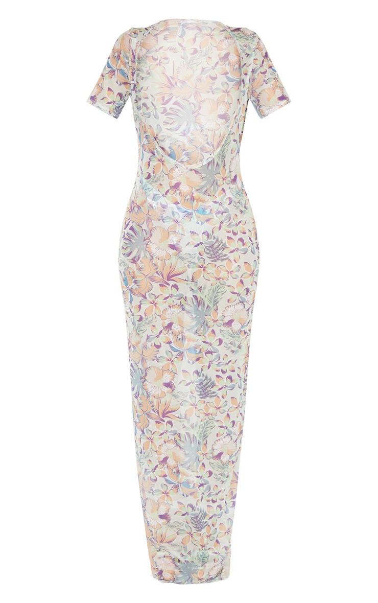 Pastel Hawaiian Print Short Sleeve Scoop Mesh Maxi Dress 4