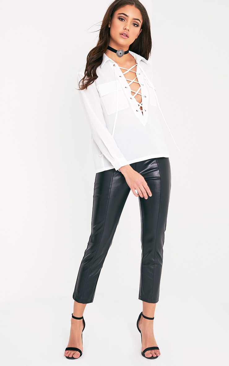Yazmin Cream Lace Up Pocket Shirt 5