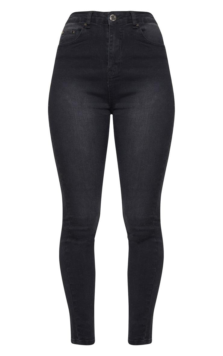 Washed Black High Waist 5 Pocket Skinny Jean  3