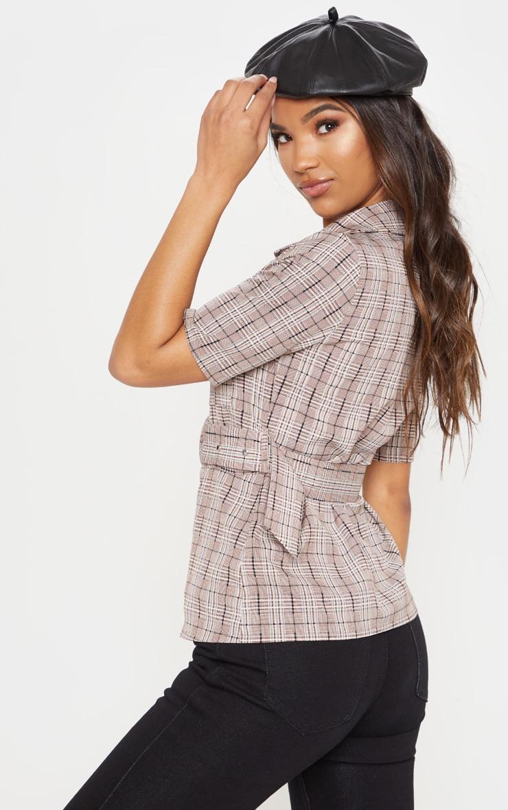 Stone Check Belt Detail Short Sleeve Shirt 2