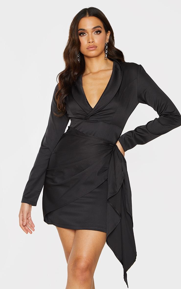 Black Plunge Drape Detail Wrap Skirt Blazer Style Bodycon Dress 1