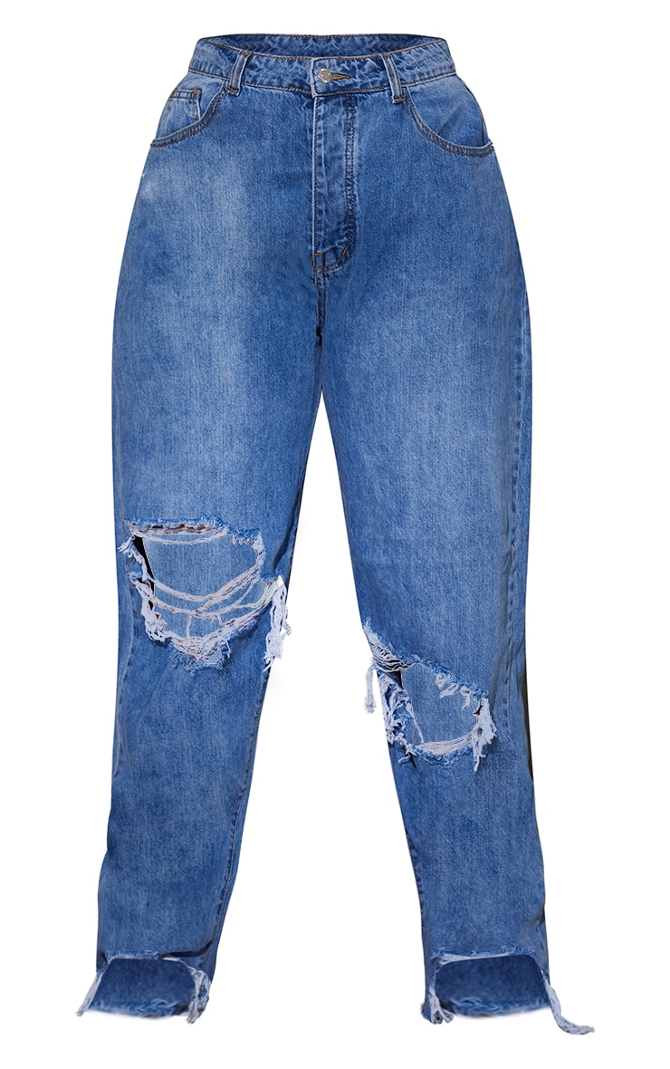 PRETTYLITTLETHING Plus Mid Blue Wash Extreme Distressed Hem Boyfriend Jeans 5