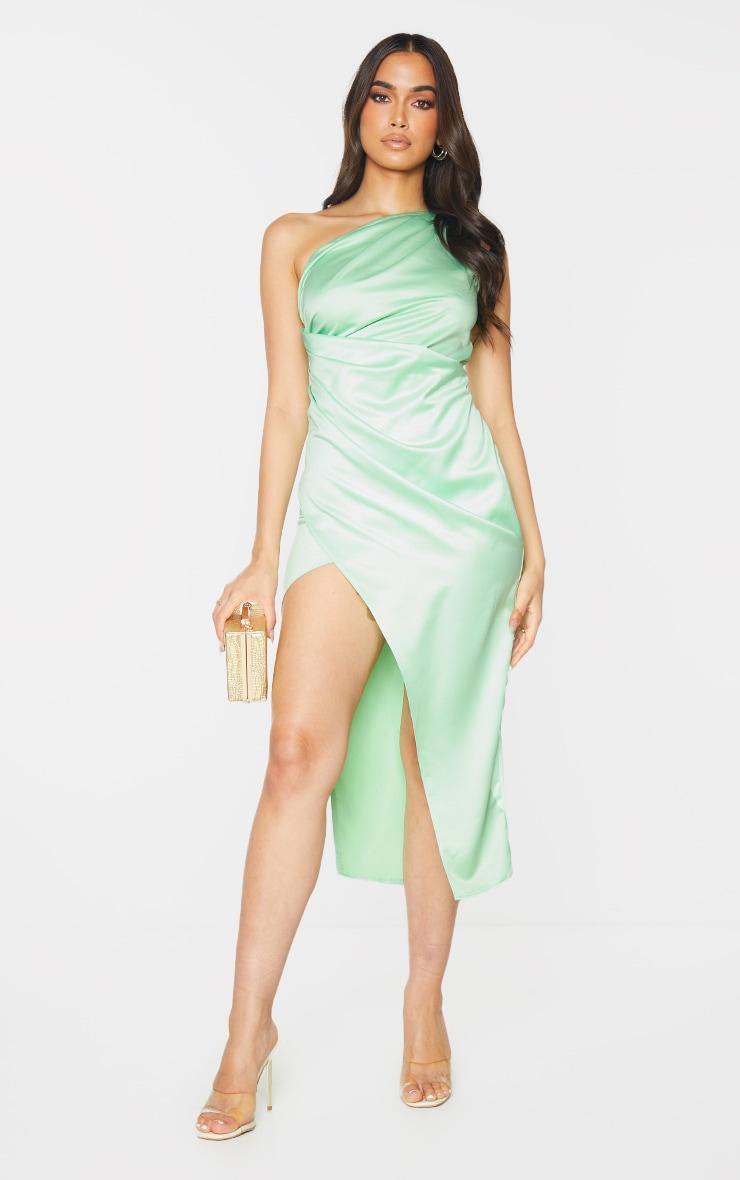 Lime Satin One Shoulder Pleat Detail Midi Dress 3