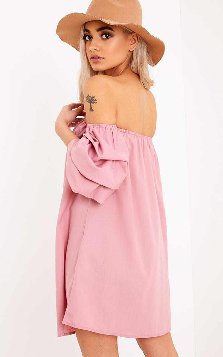 Lucinndar Cotton Ruched Bardot Sleeve Shift Dress Pink 2