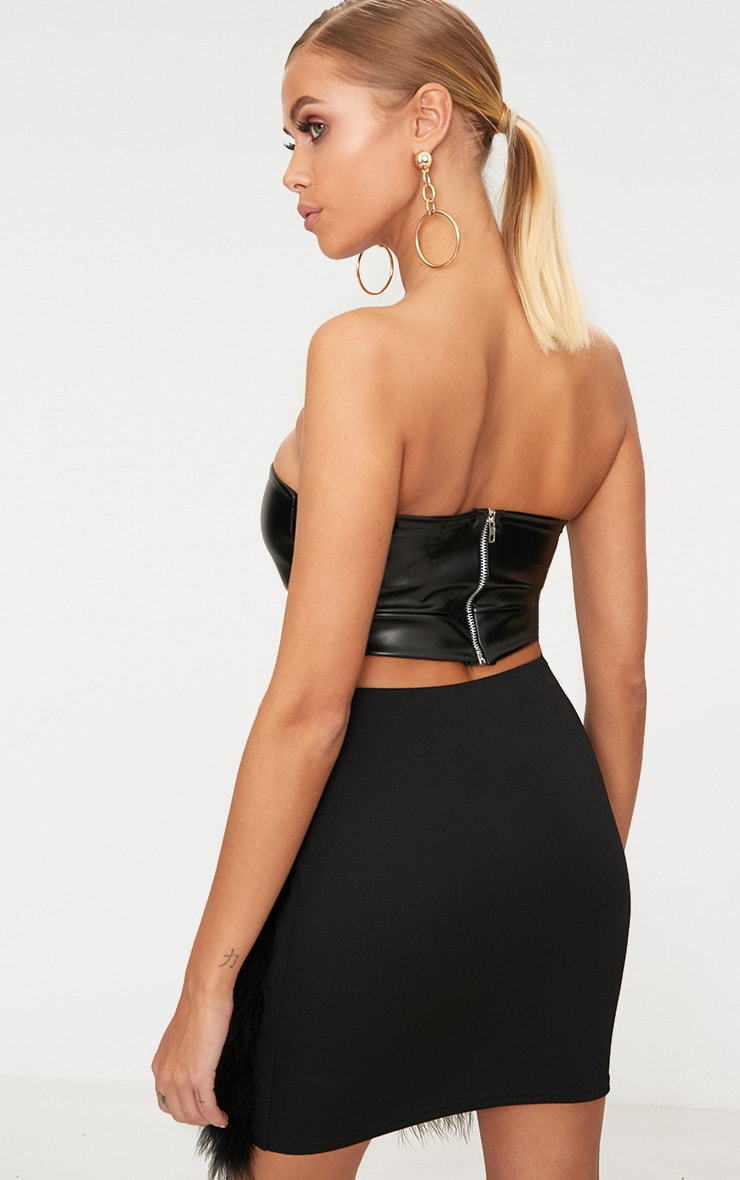 Black Faux Leather Bandeau Crop Top  2