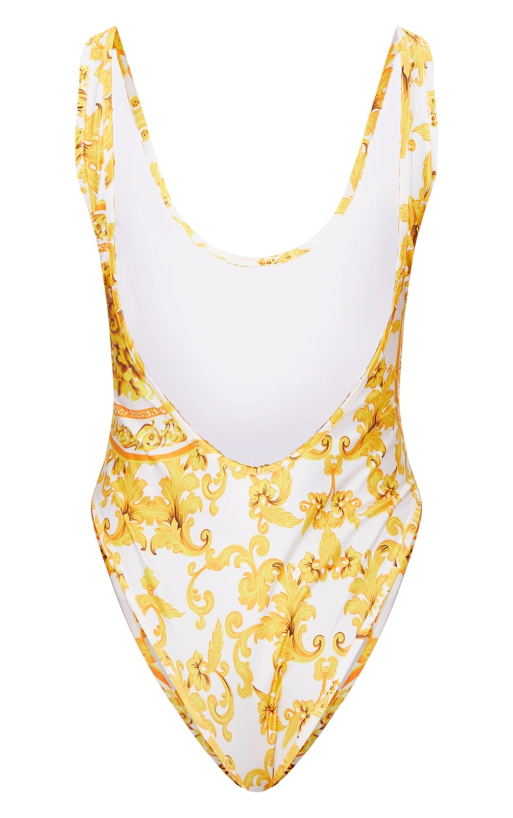 White Chain Print Low Back Swimsuit 4