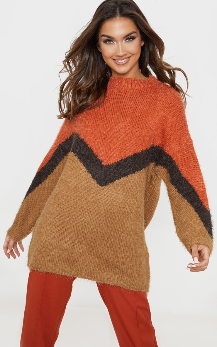 Brown Eyelash Chevron Knitted Jumper 5