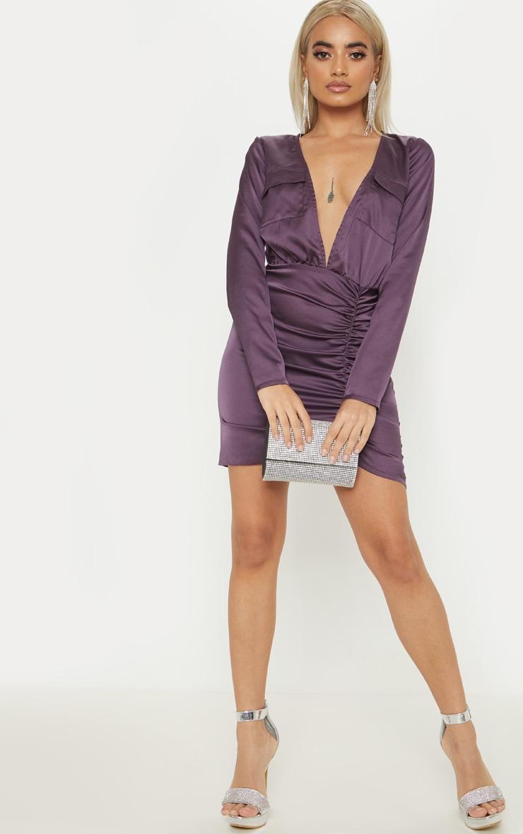 Petite Purple Satin Pocket Detail Ruched Shirt Dress 4