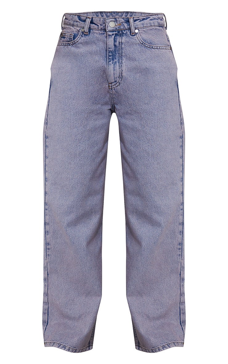 Purple Acid Wash Cropped Baggy Wide Leg Jeans 5