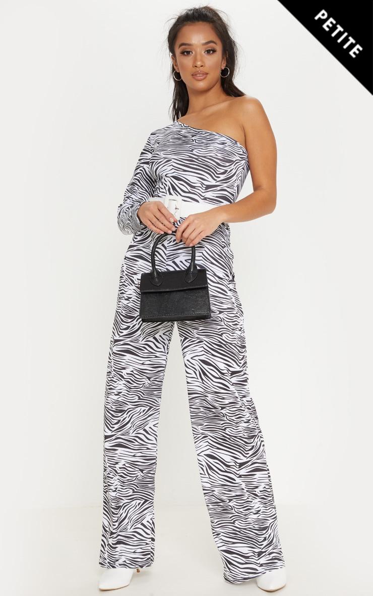 Petite White  Zebra Print One Shoulder Jumpsuit 1