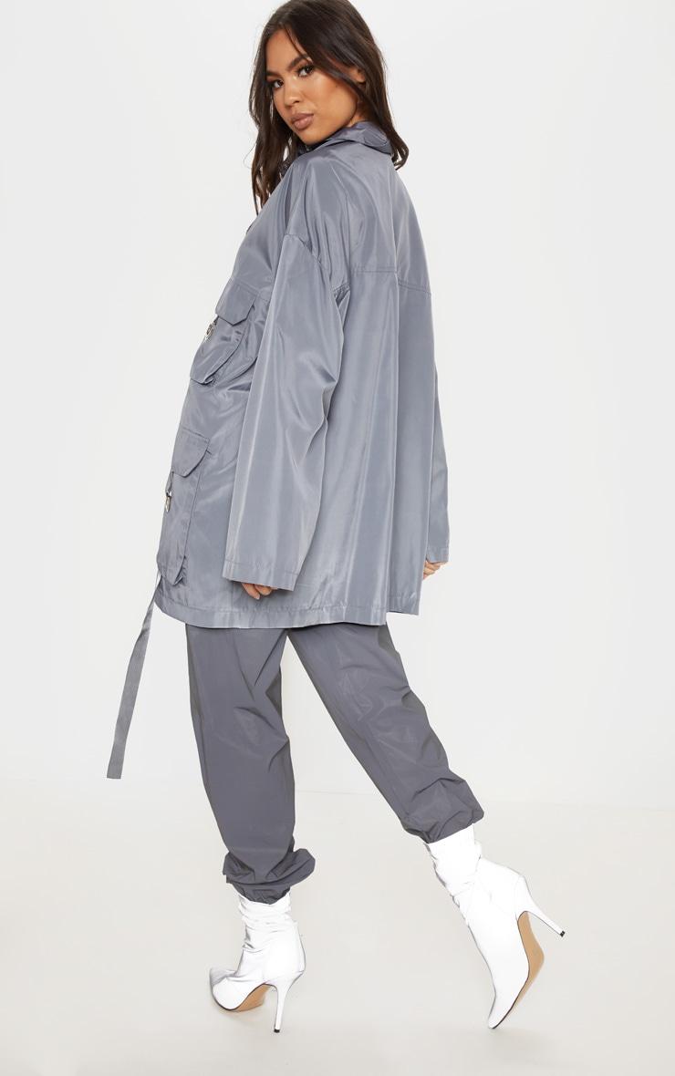 Charcoal Pocket Detail Oversized Jacket 2