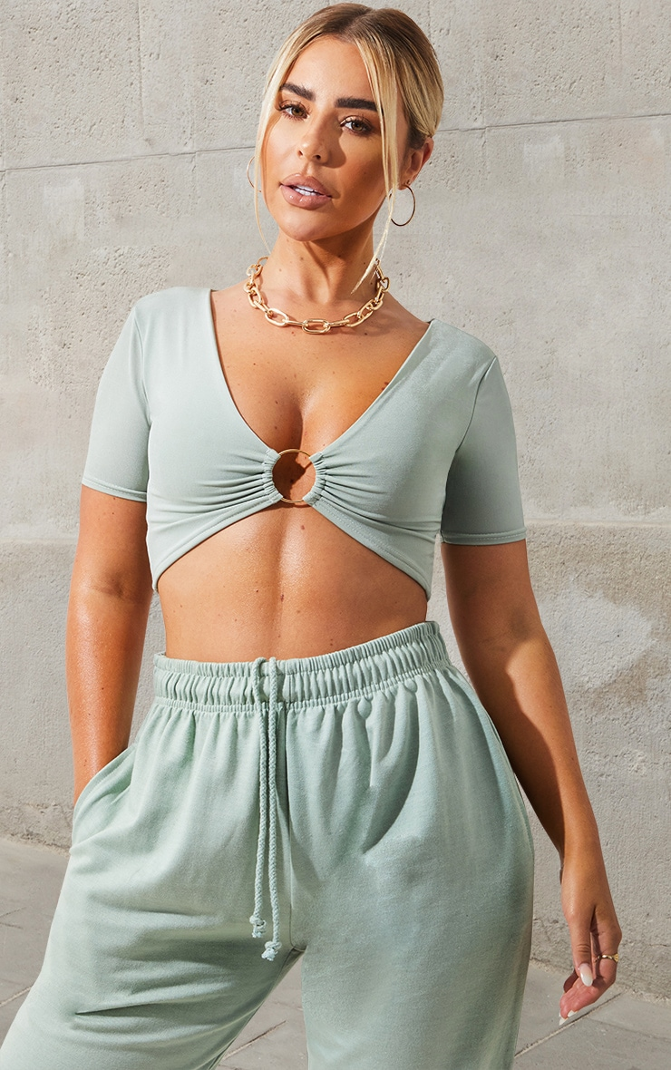 Mint Slinky Ring Detail Crop Top 1
