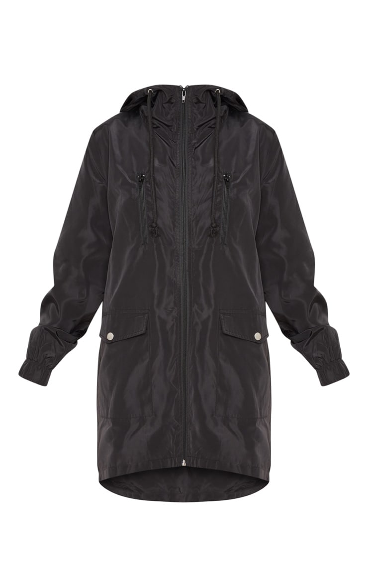 Petite Black Hooded Rain Coat  3
