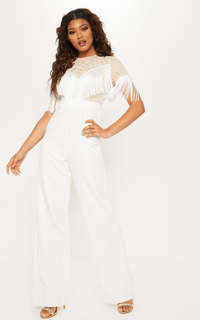 Tall White Sequin Embroidered Tassel Front Jumpsuit 1