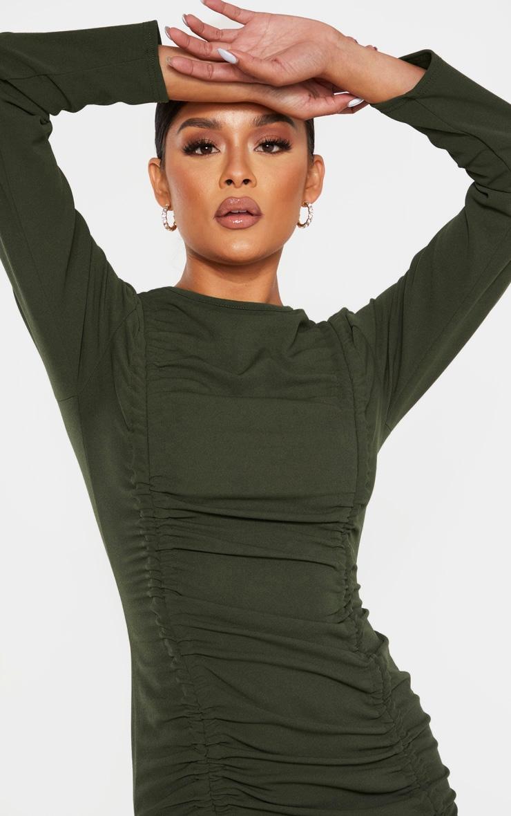 Khaki Long Sleeve Ruched Bodycon Dress 4