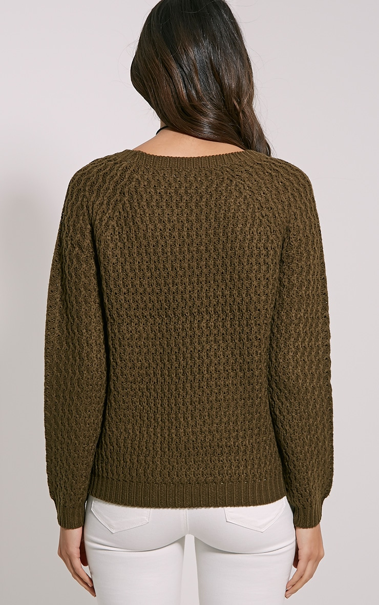 Jaylin Khaki Cable Knit Jumper 2