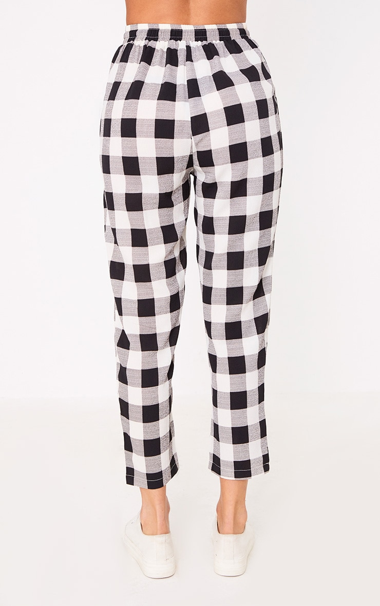 Black Check Casual Trousers 4