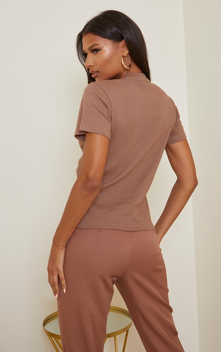 Taupe Thick Rib Short Sleeve T Shirt 2