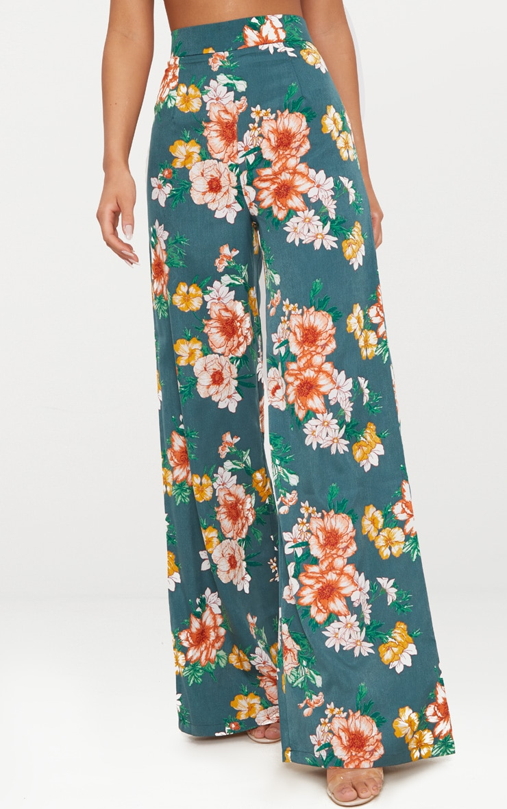 Emerald Green Floral Print Wide Leg Trousers 2