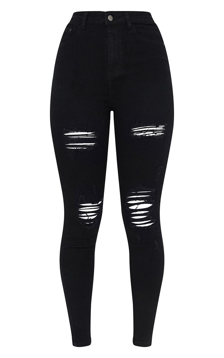 PRETTYLITTLETHING Black Ripped 5 Pocket Skinny Jeans 5