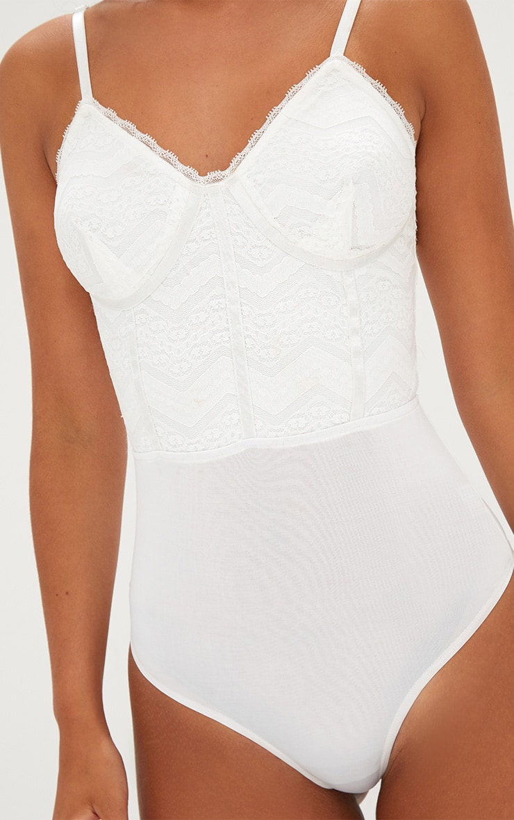 Archa White Lace Panelled Thong Bodysuit 7