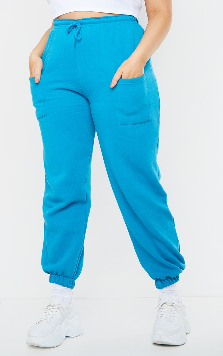 Plus Blue Pocket Thigh Casual Joggers 2