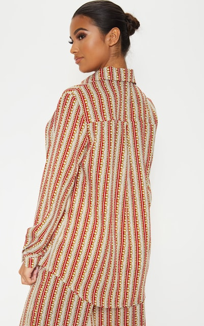 Red Chain Print Oversized Shirt