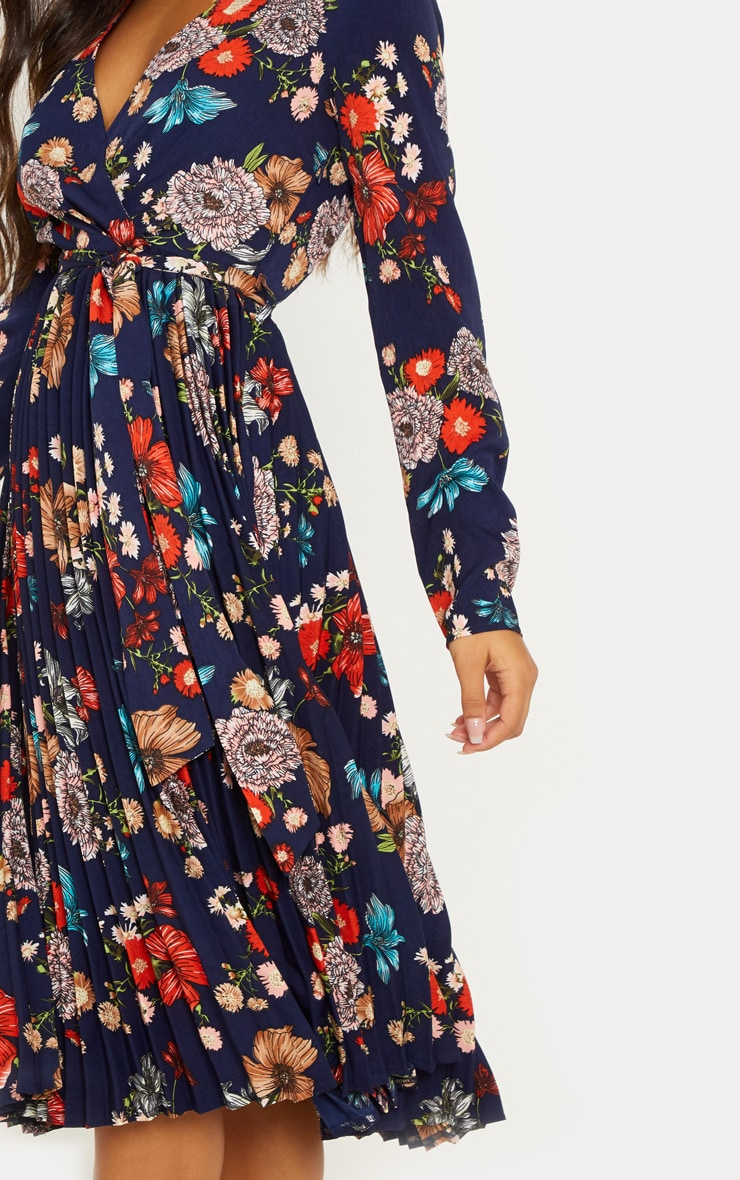 Navy Floral Long Sleeve Pleated Midi Dress 5