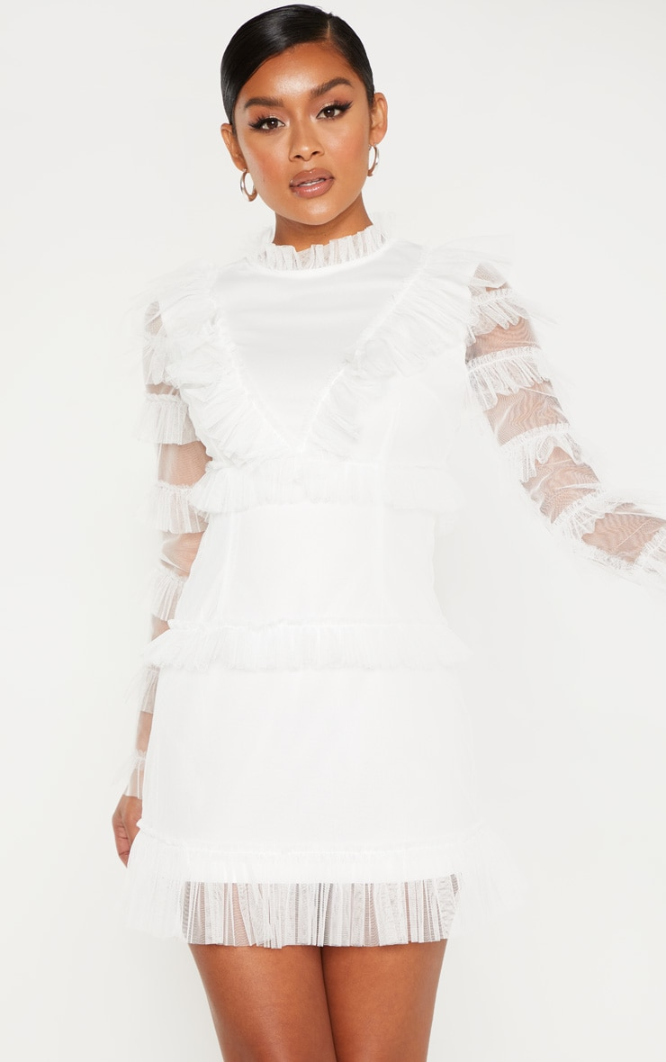 White Mesh Tulle Long Sleeve Bodycon Dress 1