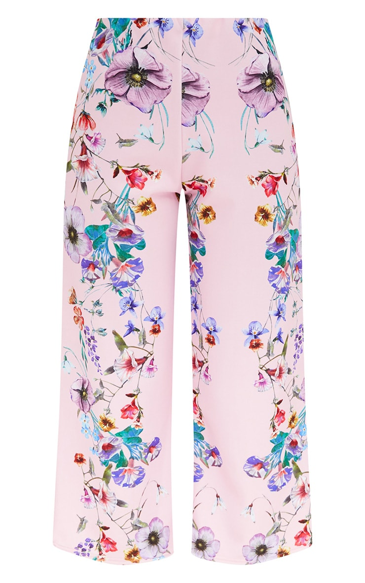 Light Pink Floral Placement Print Culottes 3