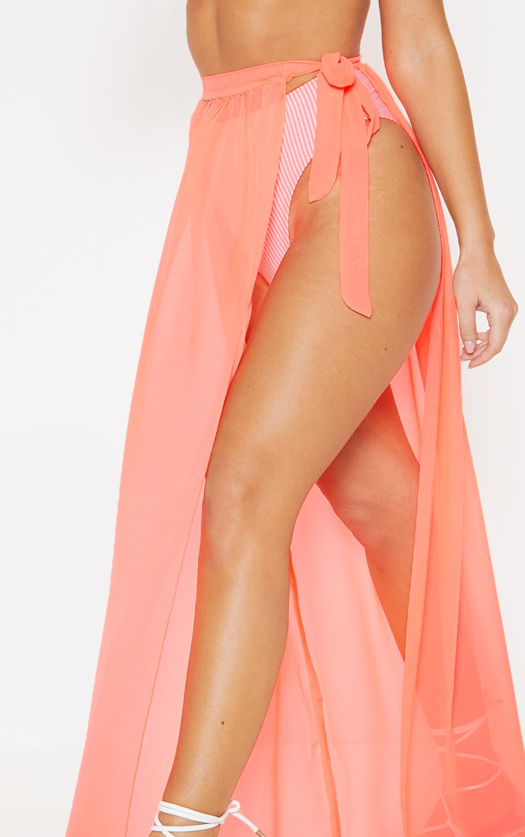 Coral Tie Side Maxi Beach Skirt 6