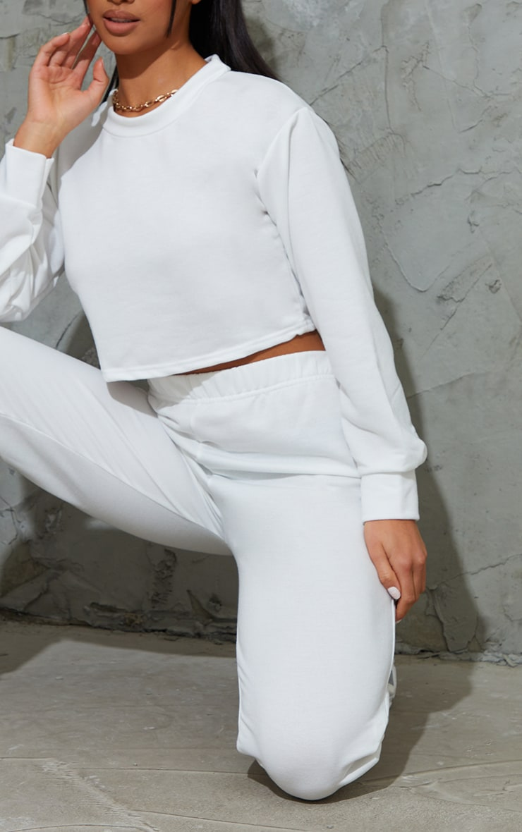 Petite White Cropped Sweat and Jogger Set 4